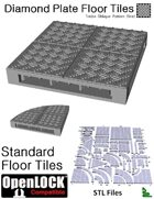 OpenLOCK Floor Tiles - Diamond Plate Treble Oblique Pattern (Fine) (STL Files)