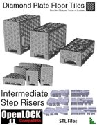 OpenLOCK Step Riser Tiles - Diamond Plate Double Oblique Pattern (Coarse) (STL Files)