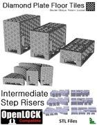 OpenLOCK Step Riser Tiles - Diamond Plate Double Oblique Pattern (Coarse) (STL Files)