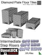 OpenLOCK Step Riser Tiles - Diamond Plate Double Oblique Pattern (Fine) (STL Files)