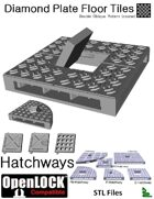 OpenLOCK Hatchway Tiles - Diamond Plate Double Oblique Pattern (Coarse) (STL Files)