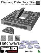 OpenLOCK Hatchway Tiles - Diamond Plate Double Oblique Pattern (Coarse) (STL Files)