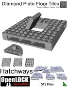 OpenLOCK Hatchway Tiles - Diamond Plate Double Oblique Pattern (Fine) (STL Files)