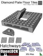 OpenLOCK Hatchway Tiles - Diamond Plate Double Oblique Pattern (Fine) (STL Files)