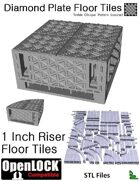 OpenLOCK 1 inch Riser Tiles - Diamond Plate Treble Oblique Pattern (Coarse) (STL Files)