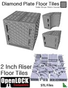 OpenLOCK 2 inch Riser Tiles - Diamond Plate Treble Oblique Pattern (Coarse) (STL Files)