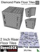 OpenLOCK 2 inch Riser Tiles - Diamond Plate Treble Oblique Pattern (Coarse) (STL Files)