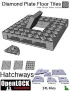 OpenLOCK Hatchway Tiles - Diamond Plate Treble Oblique Pattern (Coarse) (STL Files)