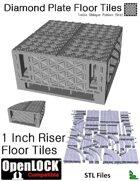 OpenLOCK 1 inch Riser Tiles - Diamond Plate Treble Oblique Pattern (Fine) (STL Files)