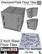 OpenLOCK 2 inch Riser Tiles - Diamond Plate Treble Oblique Pattern (Fine) (STL Files)