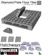 OpenLOCK Hatchway Tiles - Diamond Plate Treble Oblique Pattern (Fine) (STL Files)