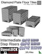 OpenLOCK Step Riser Tiles - Diamond Plate Treble Oblique Pattern (Fine) (STL Files)
