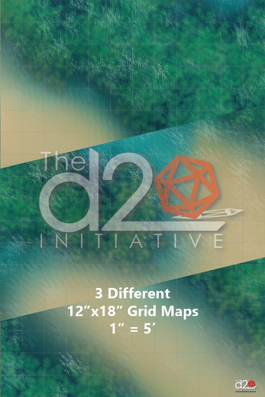 3 Aquatic Battle Maps 12x18