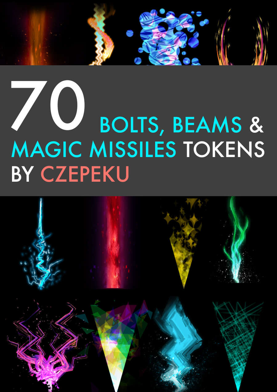 70 Bolts Beams And Magic Missiles Czepeku Spell Tokens Drivethrurpg Com You fire two missiles of magical energy that strike targets unerringly (the creatures must still be valid targets) and. 70 bolts beams and magic missiles czepeku spell tokens drivethrurpg com