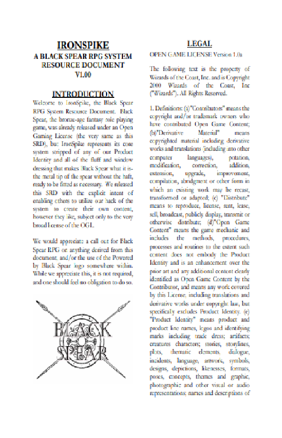 IronSpike – Black Spear RPG System Resource Document