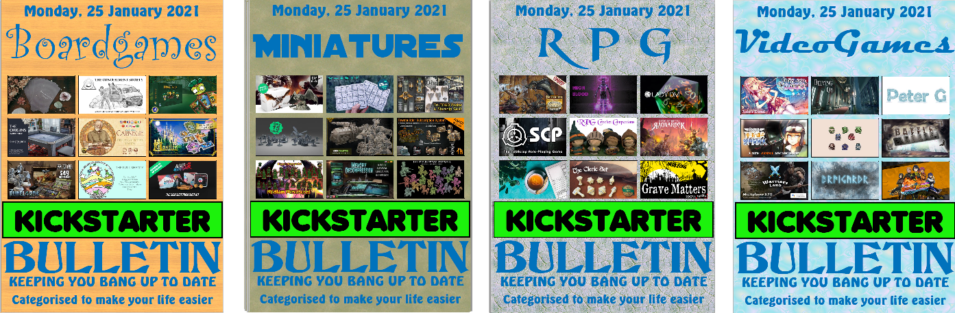 bulletin covers for Boardgames miniatures rpg and video games