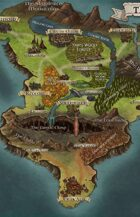"""The Isle of Ithaka"" Island Continent Landscape Map"
