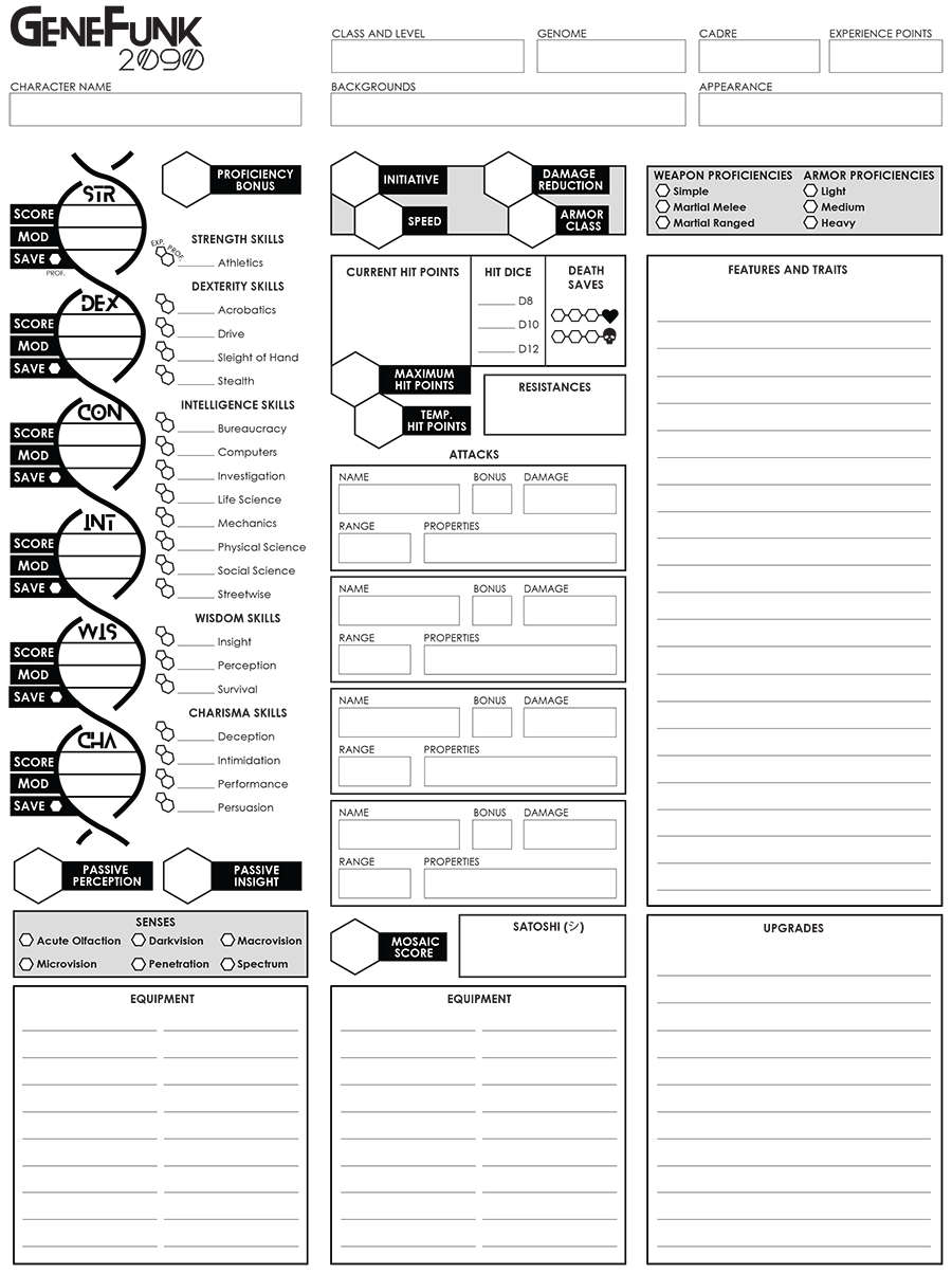 GeneFunk 2090 Character Sheet (Fillable)