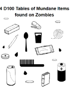4 D100 Tables of Mundane Items found on Zombies