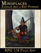 Quarter Page, Gnome warrior RPG illustration
