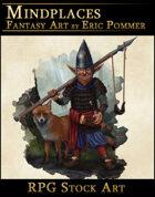 Gnome Warrior with Fox Stock Art