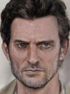 Human Male Portrait Big Black Hair (RPG Stock Art)