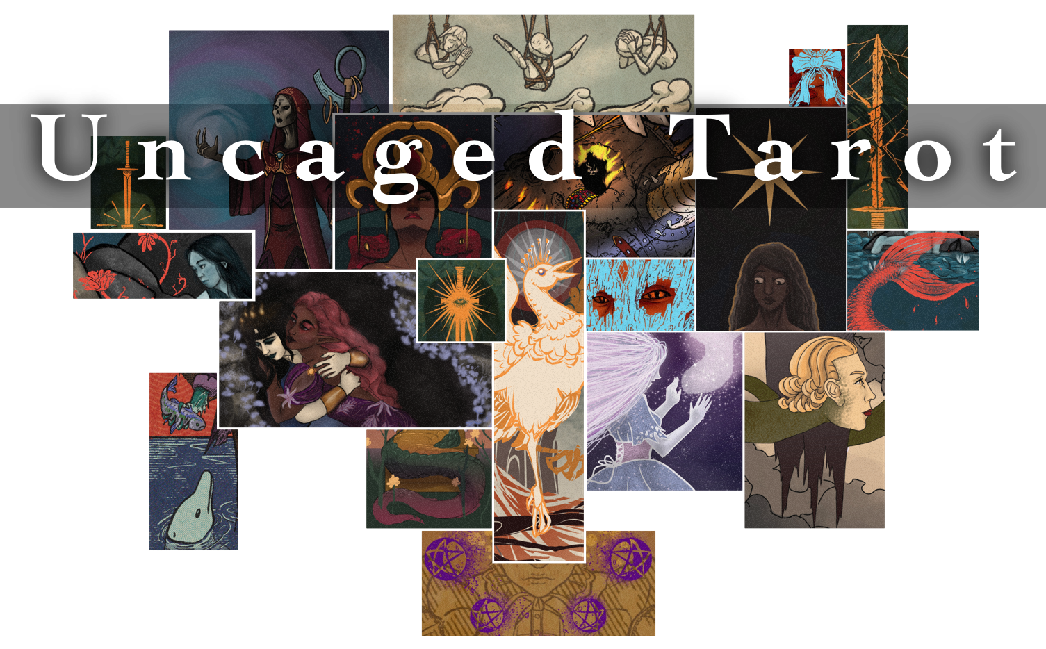 A collage of tarot images and the words Uncaged Tarot