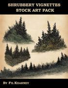 Stock Art Pack Filler Page Landscape Tree Bush Grass Shrubbery Vignette
