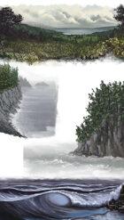 Stock Art Pack Filler Page Landscape Ocean and Cliff Coast Vignettes