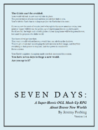 SEVEN DAYS: A Super-Heroic OGL Mash-Up RPG