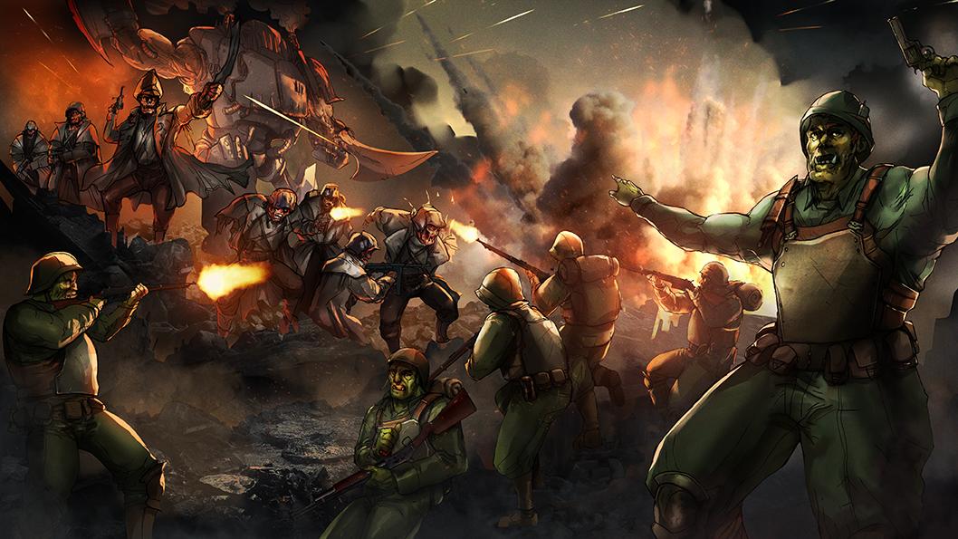 Savage Company trench battle scene