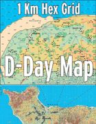 D-Day Map with 1 Kilometer Hex Grid