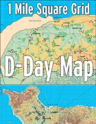 D-Day Map with 1 Mile Square Grid