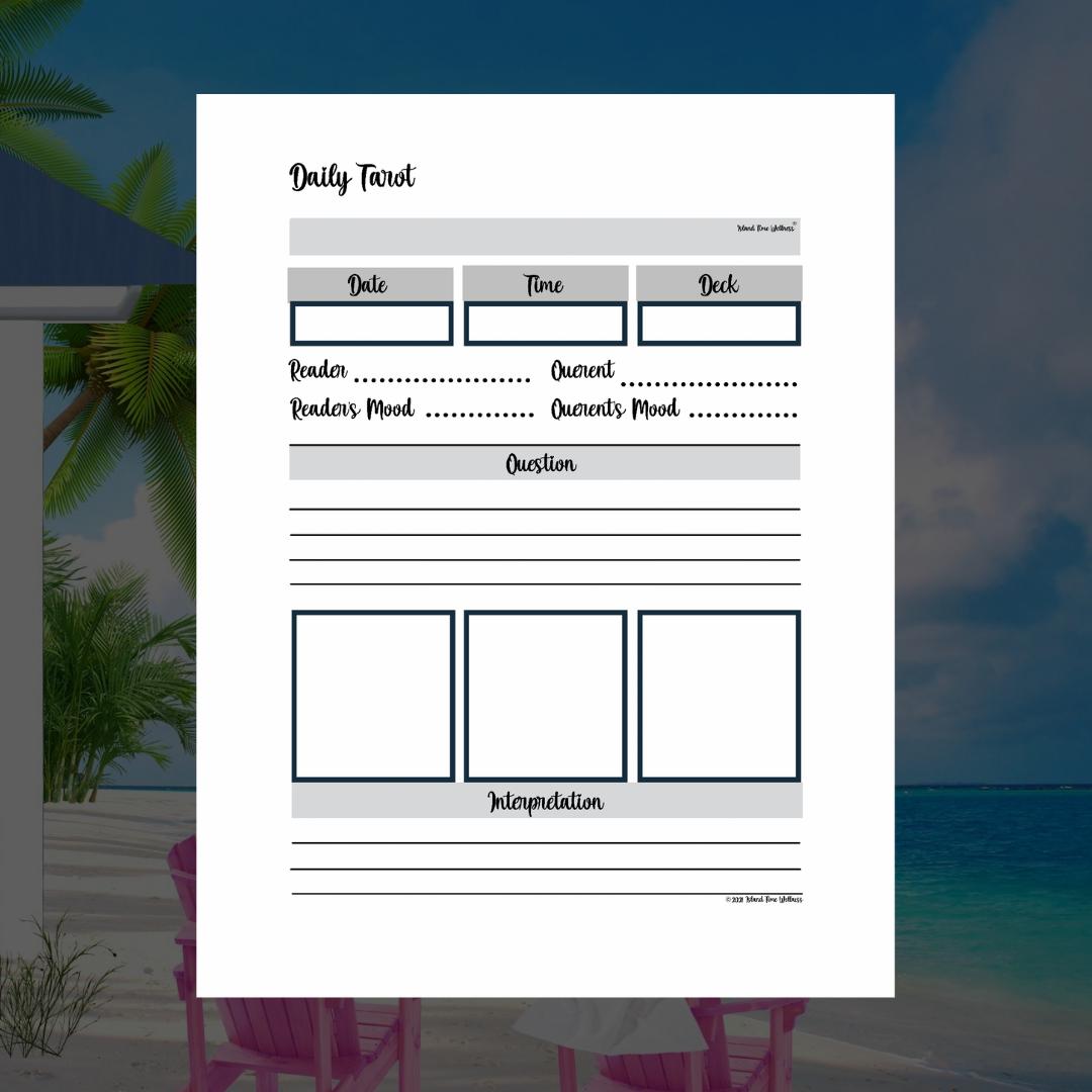 Daily tarot three card spread in silver PDF