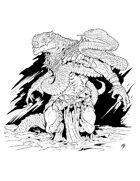 Spot Art - Lizardfolk Snake-Charmer - RPG Stock Art