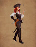 Red-haired Female Pirate - Character Stock Art