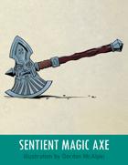 Sentient Magic Axe Stock Art – Line Art + Color – Spot