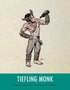 Tiefling Monk Stock Art – Line Art + Color – Spot