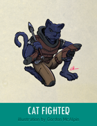 Cat Fighter Stock Art – Line Art + Color – Spot