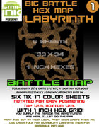 6 sheet BATTLEMAP HEX LABYRINTH empty