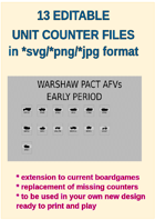 EDITABLE  COLDWAR ERA WARSHAW PACT AFV Unit Counters for replacement and extension of your own boardgames