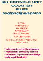 65+ EDITABLE WW2 BRITISH UNIT COUNTERS REPLACE OR EXTEND YOUR OWN GAMES
