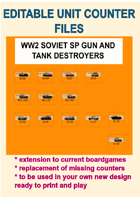 EDITABLE VECTOR GRAPHIC WW2 SOVIET SP-GUN & TD Unit Counters for replacement and extension of your own boardgames