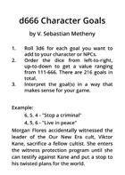 d666 Character Goals