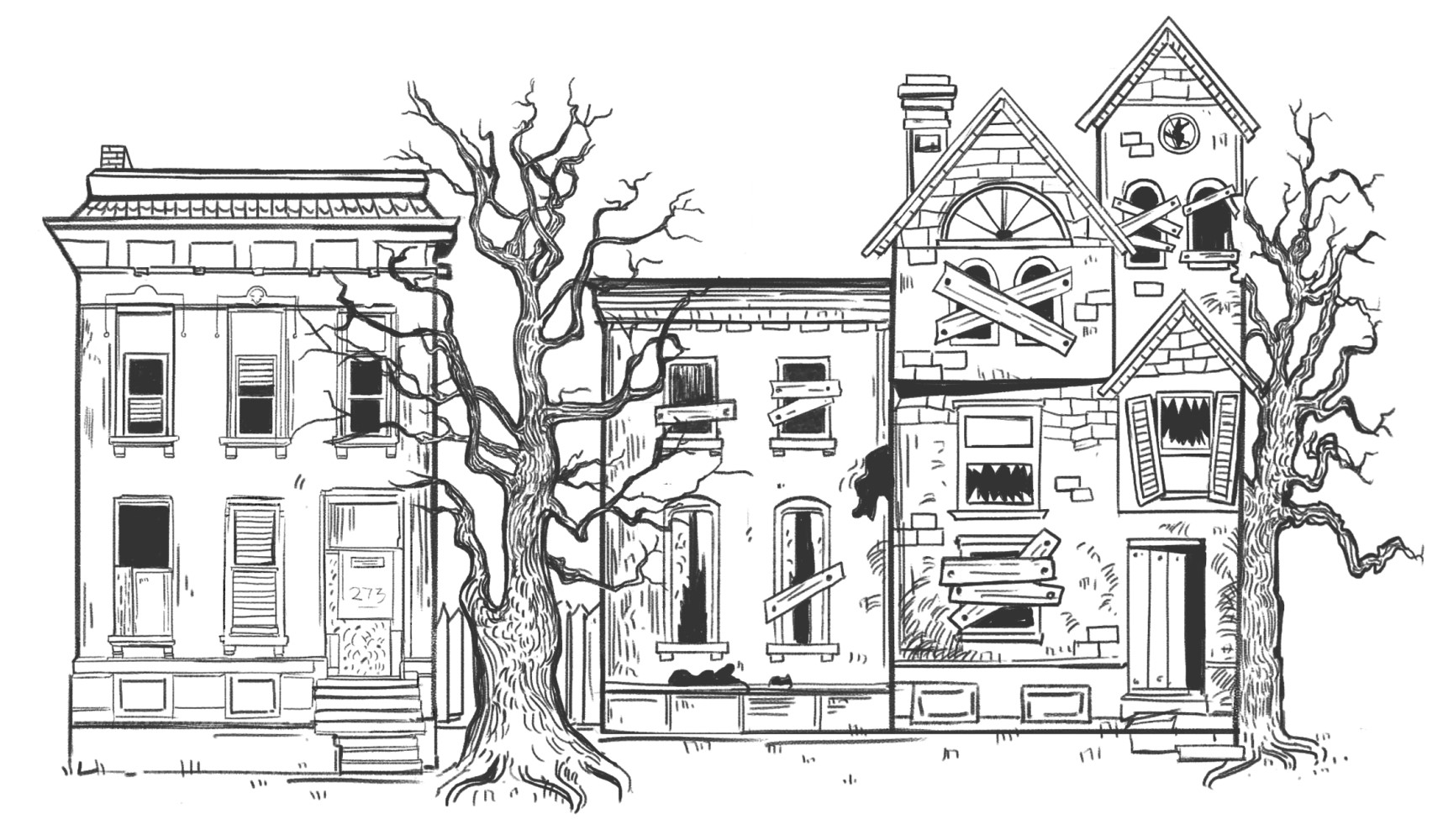 Line drawing of dilapidated houses