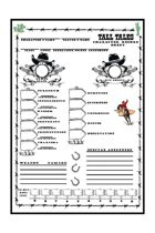 Tall Tales Alternate Character Record Sheet (For Use With Mark Hunt's Tall Tales BX Wild West RPG)