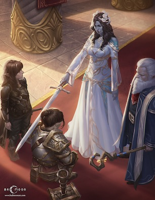 A queen of orcish and elven ancestry knights a kneeling swarf-gnome woman as a tiefling-halfling person looks on
