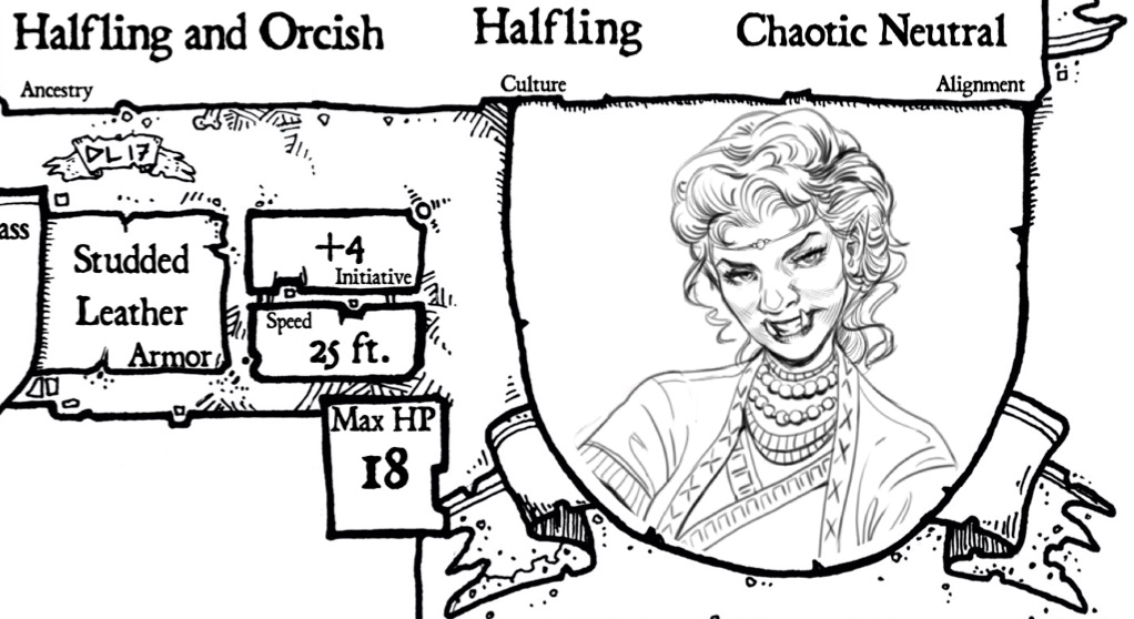 Close up on Bard of Orc and Halfling Ancestry