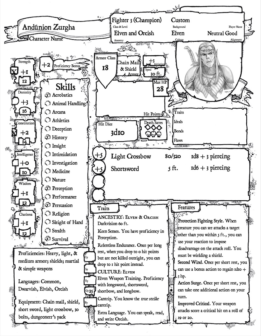 Ancestry & Culture Character Sheet