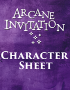 Arcane Invitation Character Sheet
